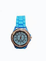 Часы женские с камнями Geneva Silicon Голубые, КОД: 111978