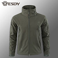 """🔥 Куртка Soft Shell с прячущимся капюшоном """"ESDY 110"""" - Олива (непромокаемая куртка,тактическая нацгвардии)"""