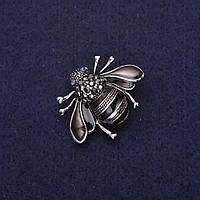 Брошь Пчела жук стразы эмаль цвет черный серый 31х24мм серебристый металл