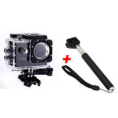 Экшн-камера B5R с пультом + Монопод Black 2d-05, КОД: 1292735