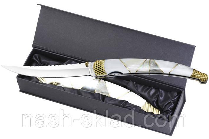 Нож  рукоять натуральная перламутровая ракушка, мрамор, подарок для мужчины, ЭКСКЛЮЗИВ, фото 2