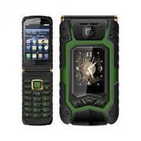 Защищенный телефон Land Rover X9 flip 1/8gb green сенсорная раскладушка Mediatek MT6252 16800 мАч