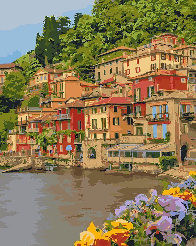KH2259 Картина-раскраска Набережная Италии, В картонной коробке