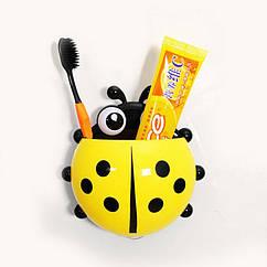 Настенный держатель для зубных щеток Божья коровка, Желтый, КОД: 145362