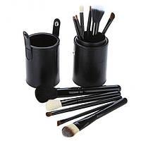 Набор 12 кистей для макияжа Bananahall в черном чехле-тубусе bnnhll2040, КОД: 975301