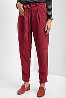 Вельветовые брюки-бананы GAIA бордового цвета со встречными складками на высокой талии