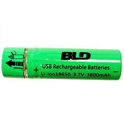 Аккумулятор 18650 Li-ion 4.2v BLD USB18650 3800 mAh c USB зарядкой 006423, КОД: 949526