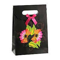 Сумочка подарочная Gift Bag Velcro Традиционная украинская роспись 27х19х9 см Черный 13644, КОД: 1347547