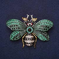Брошь Мотылек бабочка стразы эмаль цвет зеленый черный желтый 58х42мм серебристый металл
