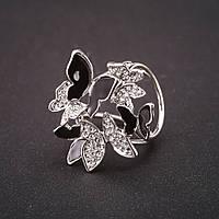 Держатель для косынок Бабочки стразы эмаль черный белый 30х33мм d-внутр 20мм серебристый металл