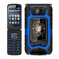 Защищенный телефон Land Rover X9 flip 1/8gb blue IP67 сенсорная раскладушка Mediatek MT6252 16800мАч