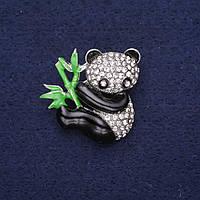 Брошь Панда в стразах эмаль цвет белый черный зеленый 28х28мм серебристый металл