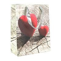 Сумочка подарочная Валентинки Сердечки и дерево Валяные 23х18х10 см 20818, КОД: 1347552