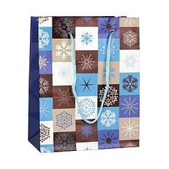 Сумочка Бумажная Snowflakes 12x15x6 см Синий с белым 20918, КОД: 1347506