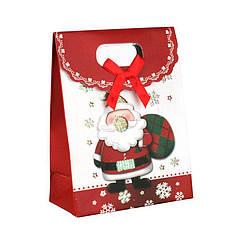 Сумочка подарочная Gift Bag Velcro Бумага Дед Мороз Вязаный мешок 16x12x6 см 20835, КОД: 1347527
