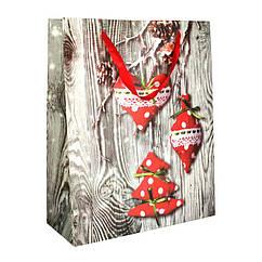 Сумочка подарочная NewYear in Cozy House Игрушки на Дереве Бумага 26x32x10.5 см 20895, КОД: 1347548