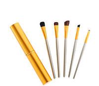 Набор кистей для макияжа в металлическом кейсе 5 шт Золотой hublvhA79185, КОД: 1181988
