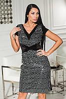 Ошатне вечірнє плаття з оксамиту + пайетка на королівському оксамиті + сітка, короткий рукав (46-50), фото 1