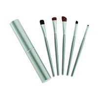 Набор кистей для макияжа в металлическом кейсе 5 шт Зеленый hublbOm77146, КОД: 1182015