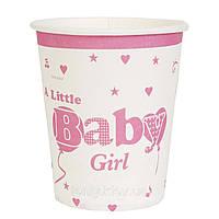 Стаканчики 10шт. в стиле Baby Girl девочка (набор 10шт), бумажные одноразовые 250мл. на  День рождения -