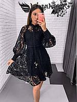 Кружевное платье с рукавом фонариком и расклешенной юбкой 7903594, фото 1