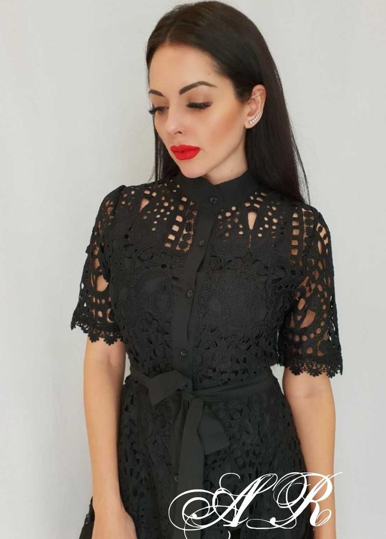 Кружевное платье миди рубашечного фасона длиной миди и с коротким рукавом 7903597