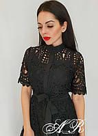 Кружевное платье миди рубашечного фасона длиной миди и с коротким рукавом 7903597, фото 1