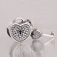 Шарм Pandora Сердце на замке, серебро 925 пробы