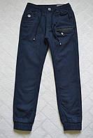 Утеплённые,синие,Котоновые брюки ДЖОГГЕРЫ для мальчиков ,.Размеры 140- см.Фирма GRACE.Венгрия, фото 1