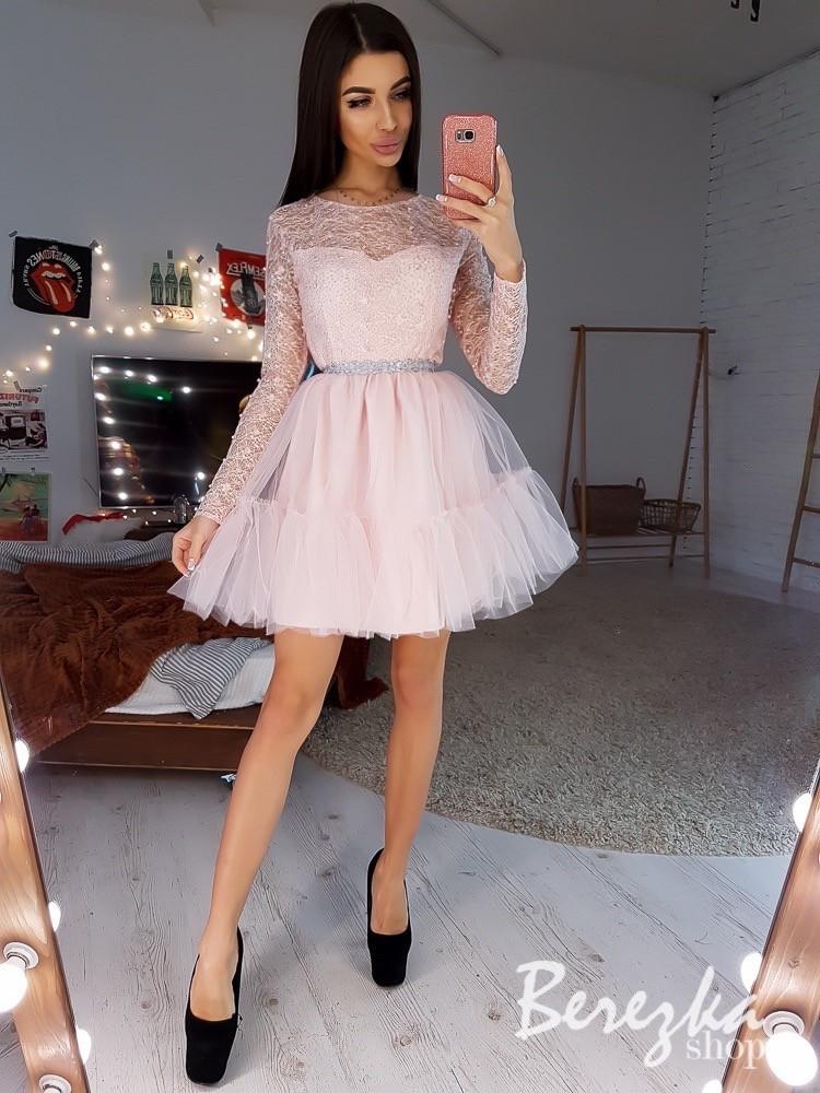 Пышной платье с фатиновой юбкой и кружевным верхом 6603638E