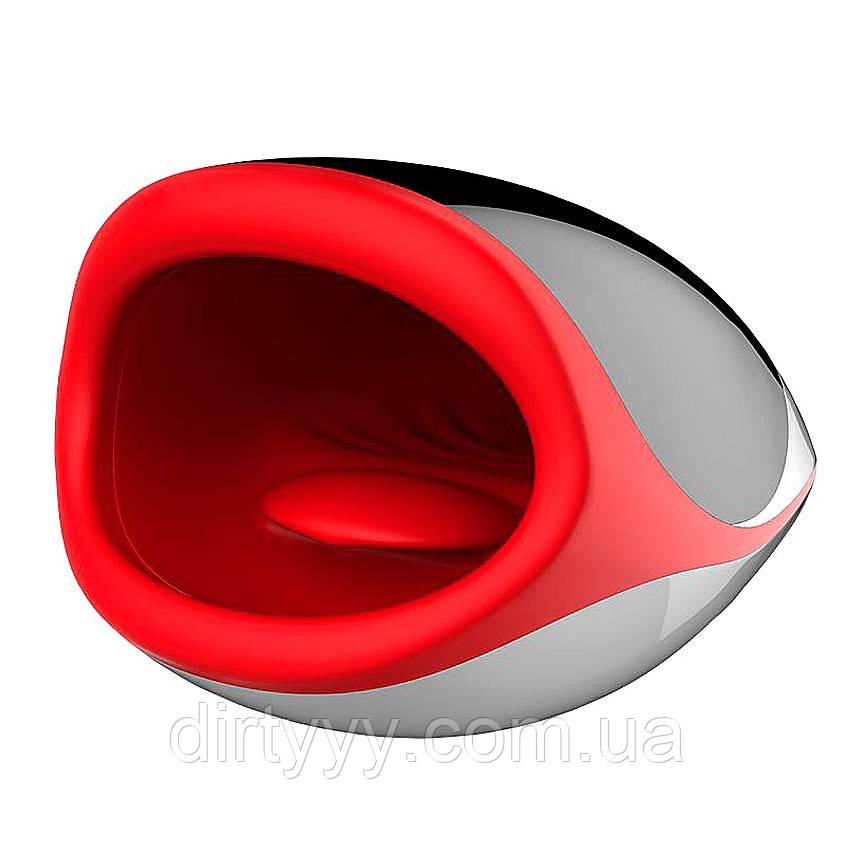 Мастурбатор с подогревом - Leten Erotic Lips, цвет: черно-красный