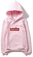 Худи Supreme розовое с красным лого, унисекс (мужское, женское, детское)