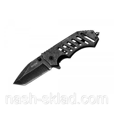 Нож складной Титан + клипса на ремень и стеклобой, заточка танто, стильный и мощный клинок, фото 2