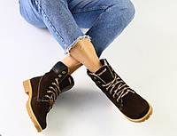 Ботинки зимние Timberland женские, коричневые, в стиле Тимберленд, нубук, полушерсть, код FS-2749