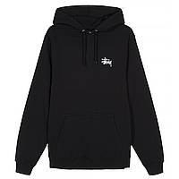 Худи Stussy черное, маленькое лого, унисекс (мужское, женское, детское)