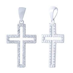Серебряный крестик Silver Breeze с фианитами 1917985, КОД: 1344135
