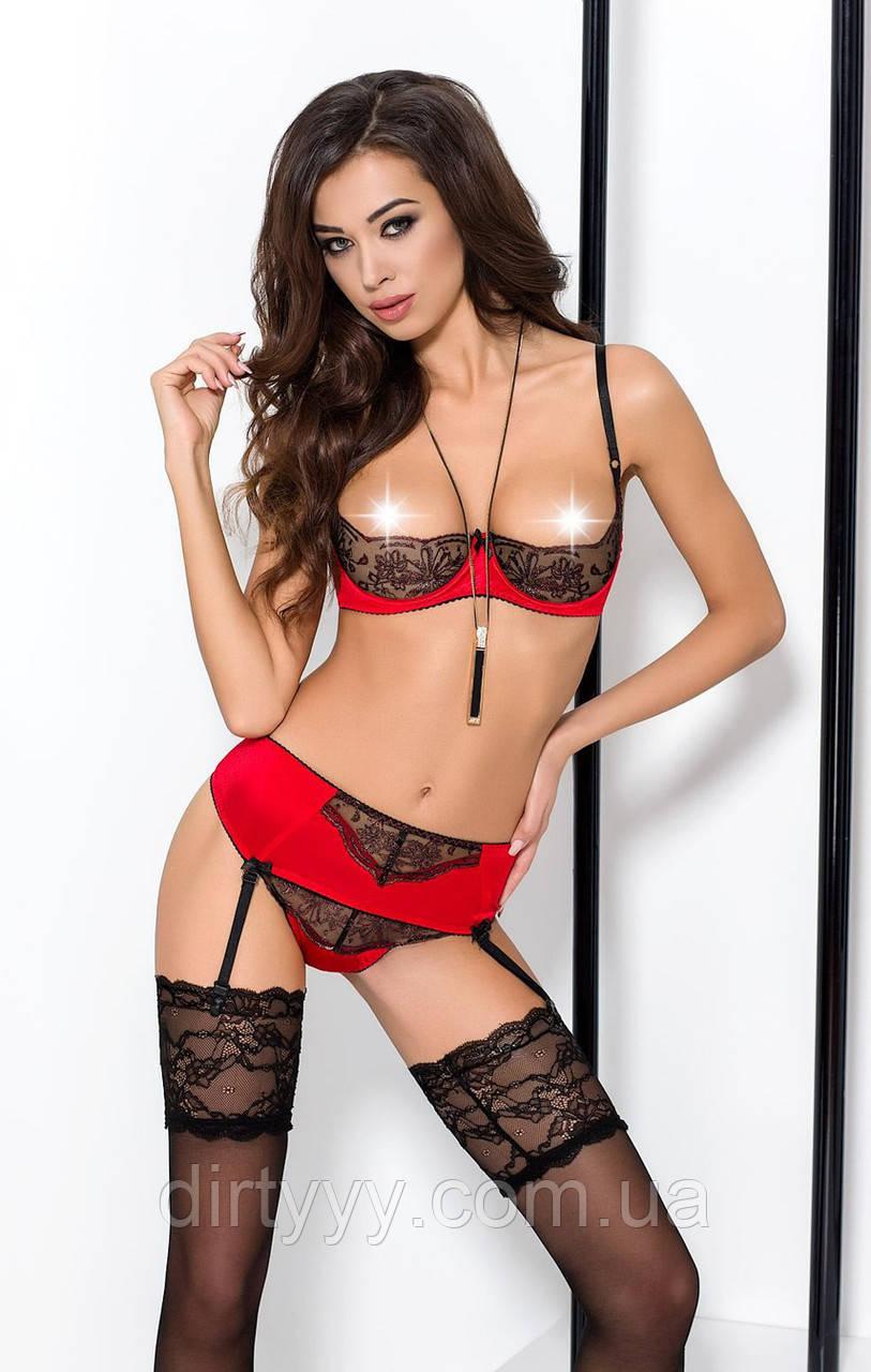 Эротически комплект - BRIDA SET WITH OPEN BRA red, черно-красный