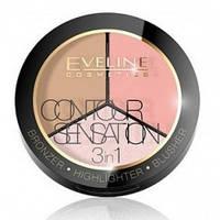 Набор для скульптурирования Eveline Cosmetics Contour Sensation 3in1 01 Pink Beige, КОД: 1089616