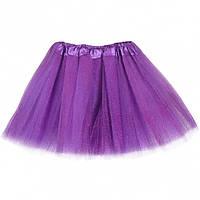 Юбка фатин глиттер-блестки карнавальная детская (Фиолетовая)