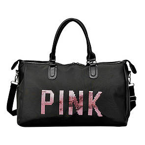 Большая женская сумка Pink в стиле Victoria`s Secret с пайетками