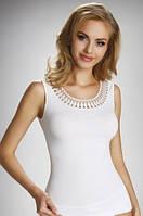 Женская бельевая майка белого цвета из хлопка, модель Olinea Eldar.