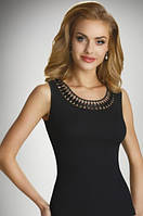 Женская бельевая майка черного цвета из хлопка с красивой вышивкой по горловине, модель Olinea Eldar.