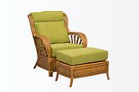 Плетеное кресло с пуфом из натурального ротанга Cruzo Аскания Светло-коричневый pk3-57, КОД: 741896