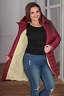 Женская зимняя удлиненная куртка на овчине с капюшоном большие размеры