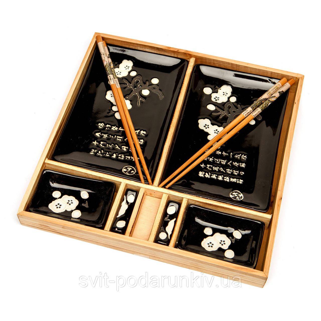 Японская посуда для суши в деревянной коробке S150-3