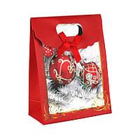 Сумочка подарочная Gift Bag Velcro Бумага Елочные игрушки с серебром 16x12x6 см 20842, КОД: 1347496