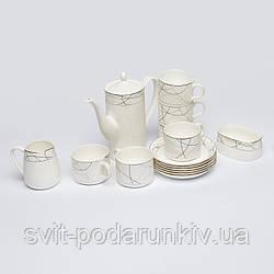 Фарфоровый чайный сервиз белый из пятнадцати предметов S9905