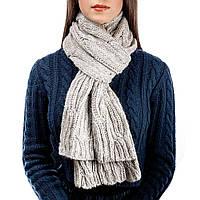 Женский вязаный шарф цвет ваниль