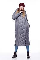 Зимняя женская куртка ORIGA Вероника удлиненная 48 Серый, КОД: 1341662
