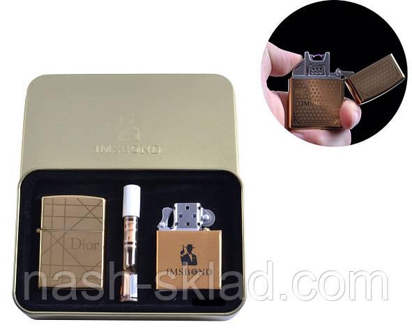 """Набор зажигалок и мундштук """"Dior"""", электроимпульсная и бензиновая, в комплекте с мундштуком, в коробке, фото 2"""